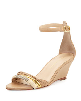 Loeffler Randall Addie Leather & Snake Wedge Sandal