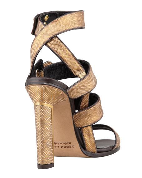 Beatrice Snakeskin Strappy Sandal, Bronze