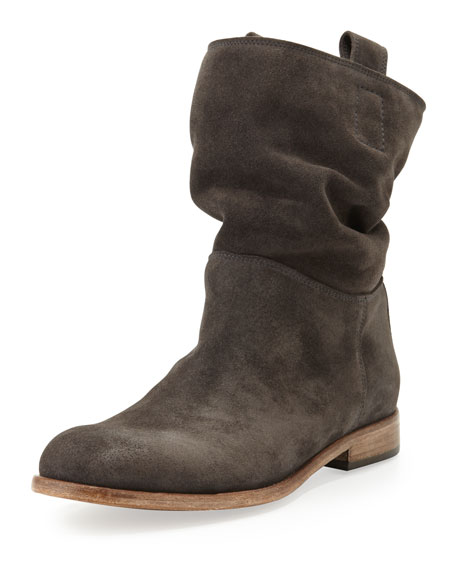 Alberto Fermani Umbria Slouchy Suede Bootie, Anthracite ...