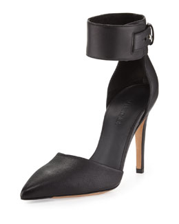 Vince Ada Ankle-Strap Leather Pump, Black