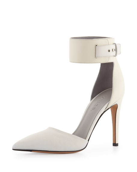 Ada Ankle-Strap Leather Pump, Vanilla