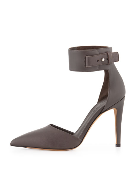 Ada Ankle-Strap Leather Pump, Mushroom