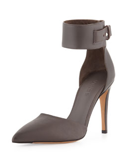 Vince Ada Ankle-Strap Leather Pump, Mushroom