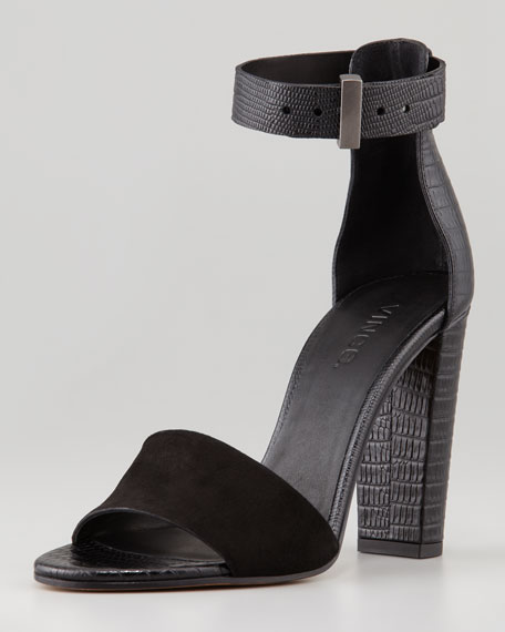 Serena Ankle-Strap Leather Sandal, Black