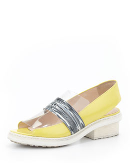 3.1 Phillip Lim Darwin Runway Peep-Toe Loafer, Lemon