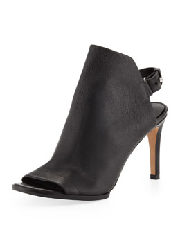 Vince Aden Peep-Toe Leather Bootie, Black