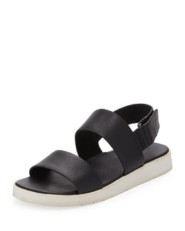 Vince Brennen Double-Strap Leather Sandal, Black