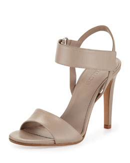 Vince Genna Double-Strap Leather Sandal, Taupe