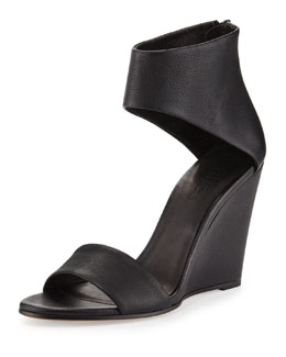 Vince Kelan Ankle-Cuff Wedge Sandal, Black