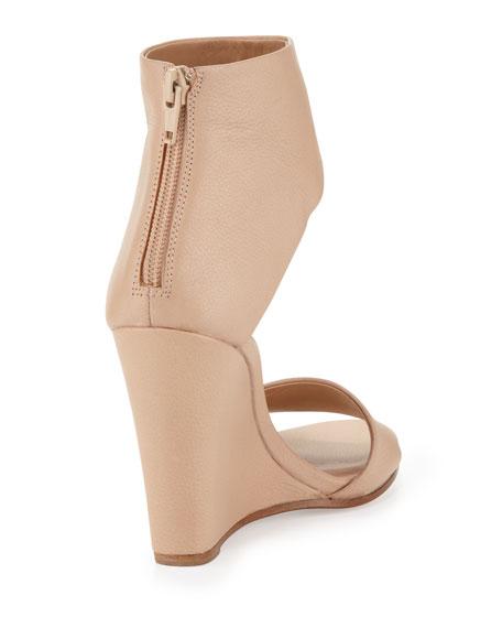 Kelan Ankle-Cuff Wedge Sandal, Cappuccino