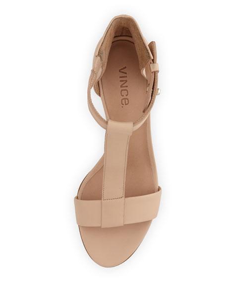 Nolan Split-Wedge Leather Sandal, Cappuccino