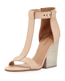 Vince Nolan Split-Wedge Leather Sandal, Cappuccino