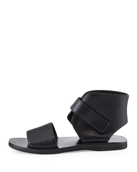 Sage Leather Ankle-Wrap Sandal, Black