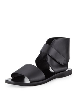 Vince Sage Leather Ankle-Wrap Sandal, Black