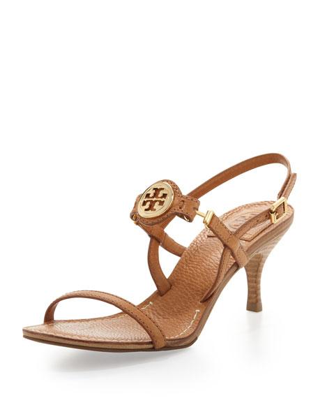Mira Slingback Logo Sandal, Tan