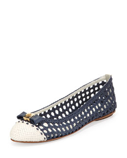 Tory Burch Carlyle Woven Leather Ballerina Flat, Newport Navy/Ivory