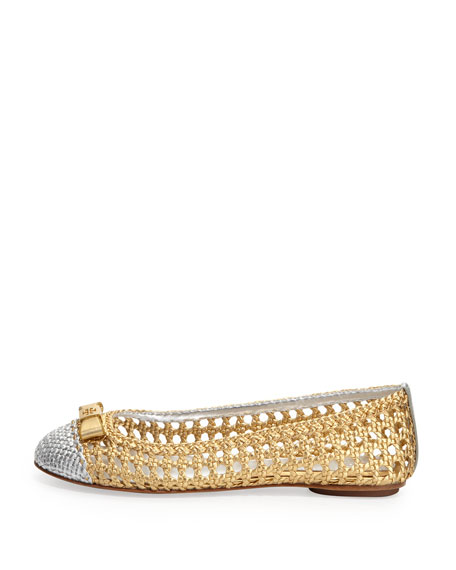 Carlyle Woven Ballerina Flat, Gold/Silver