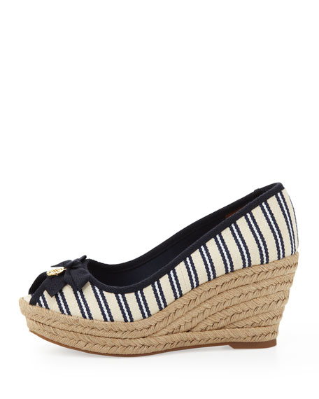 75d1a1512e35 Tory Burch Jackie Striped Peep-Toe Wedge