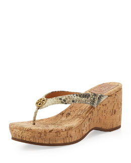 Tory Burch Suzy Snake-Print Thong Wedge Sandal, Natural