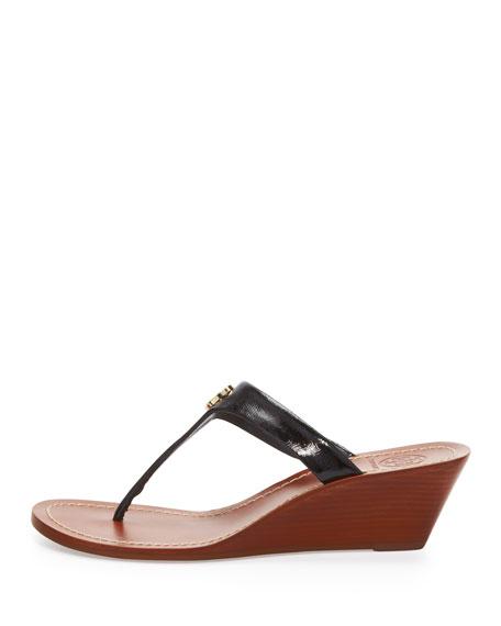 Cameron Patent Thong Wedge Sandal, Black