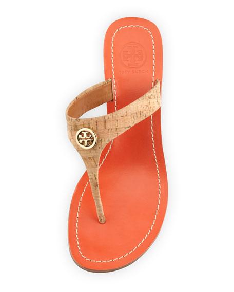 Cameron Cork Thong Wedge Sandal, Natural