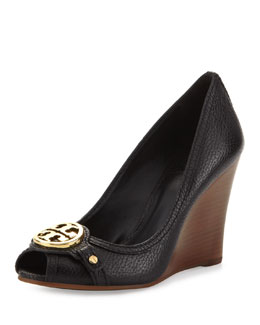 Tory Burch Leticia Peep-Toe Leather Wedge