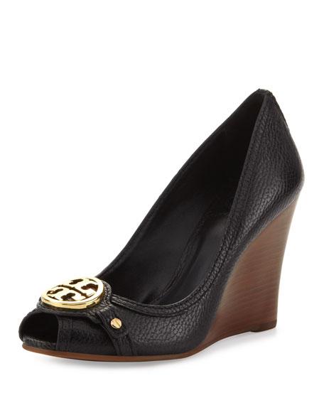 Leticia Peep-Toe Leather Wedge