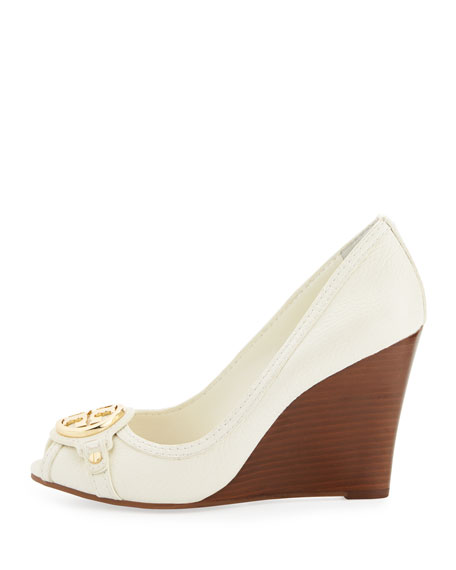 Leticia Peep-Toe Leather Wedge, Ivory