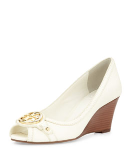 Tory Burch Leticia Peep-Toe Mid-Heel Wedge, Ivory