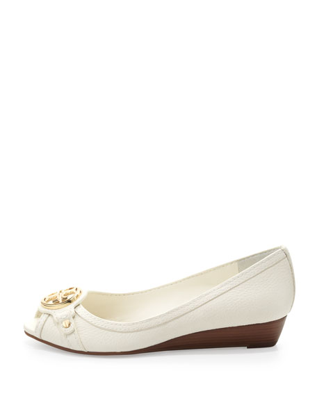 Leticia Peep-Toe Low Wedge, Ivory