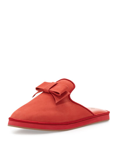Jacques Levine Daria Nubuck Bow Slipper, Red