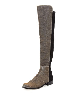 Stuart Weitzman 50/50 Metallic Stretch Over-the-Knee Boot, Pyrite Nocturn