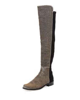 Stuart Weitzman 50/50 Metallic Stretch Over-the-Knee Boot, Pyrite Nocturn