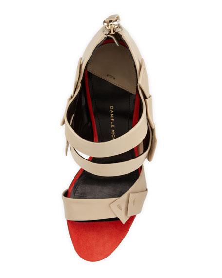 Amaranta Strappy Bandage Sandal, Red/Beige