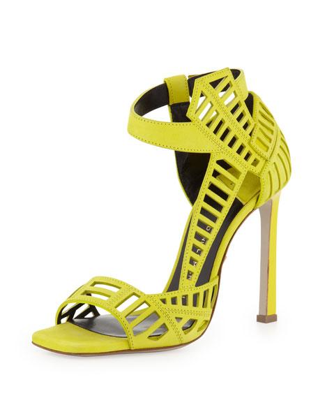 Mahima Square-Toe Cutout Sandal, Lime