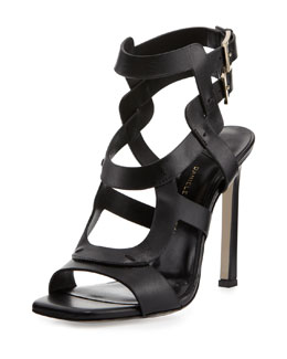 Daniele Michetti Rakhi Double-Buckle Leather Sandal, Black