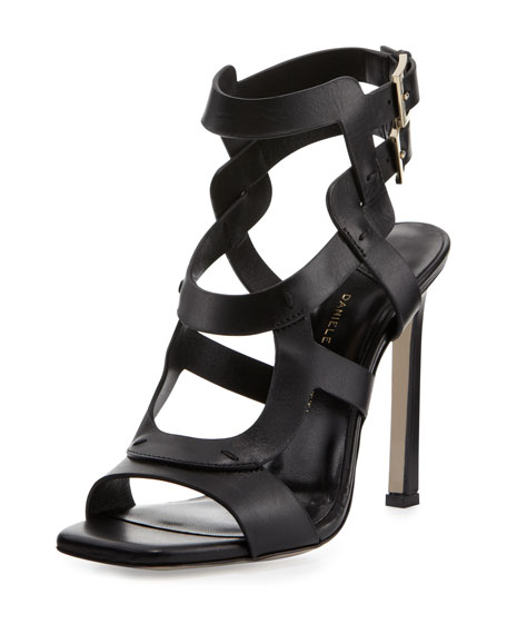 Rakhi Double-Buckle Leather Sandal, Black