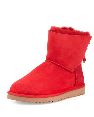 UGG Australia Bailey Mini Striped-Bow Short Boot, Red