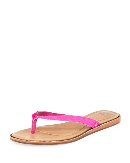 Allaria Calf Hair Flat Thong Sandal, Princess Pink