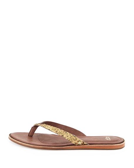 Allaria Calf Hair Thong Sandal, Metallic Leopard