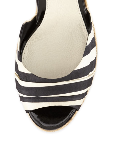 Lucianna Striped Wedge Sandal, Black