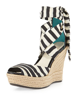 UGG Australia Lucianna Striped Wedge Sandal, Black