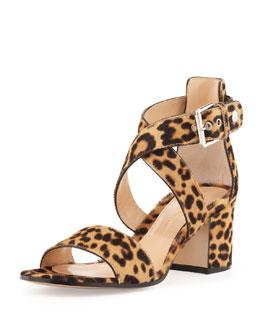 Gianvito Rossi Leopard-Print Calf Hair Low-Heel Sandal