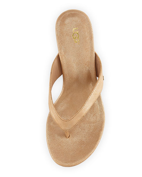 Natassia Cork Thong Wedge Sandal, Gold Washed