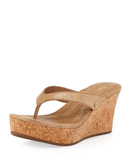 UGG Australia Natassia Cork Thong Wedge Sandal, Gold Washed
