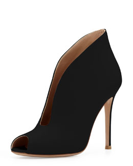 Gianvito Rossi Leather Peep-Toe Ankle Bootie, Black