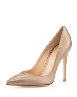 Gianvito Rossi Metallic Leather Point-Toe Pump, Pietra