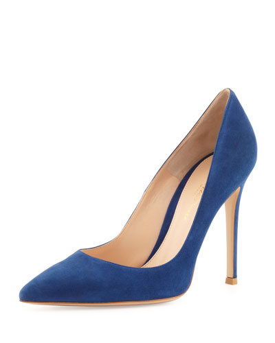 Gianvito Rossi Suede Point-Toe Pump, Navy