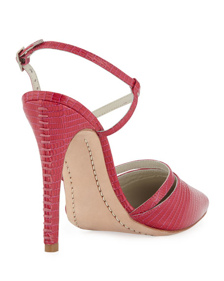 Davey Lizard-Embossed Pump, Hot Pink