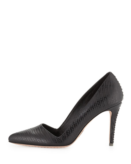 Dina Lizard-Embossed Pump, Black